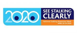 National Stalking Awareness week logo - blue and white with large 2020